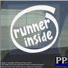 1 x Runner Inside-Window,Car,Van,Sticker,Sign,Vehicle,Marathon,Olympics,Run,Shoe